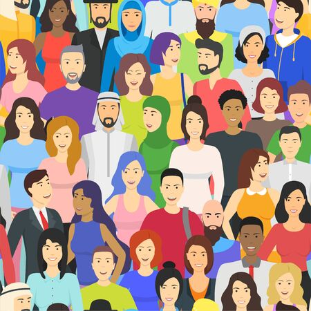 Illustration for Cartoon Color Characters People Different Nationalities Concept. Vector - Royalty Free Image