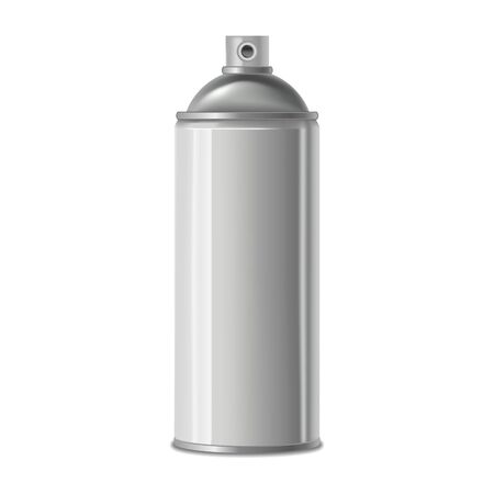 Illustration for Realistic Detailed 3d White Blank Spray Metal Can Template Mockup. Vector - Royalty Free Image