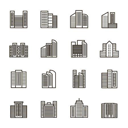 Photo pour Buildings Sign Black Thin Line Icon Set. Vector - image libre de droit