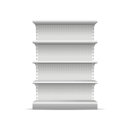 Illustration for Realistic 3d Detailed White Blank Supermarket Shelves Empty Template Mockup for Merchandising. Vector illustration of Shelve - Royalty Free Image