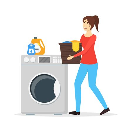 Illustration for Cartoon Color Character Woman Housewife Concept. Vector - Royalty Free Image