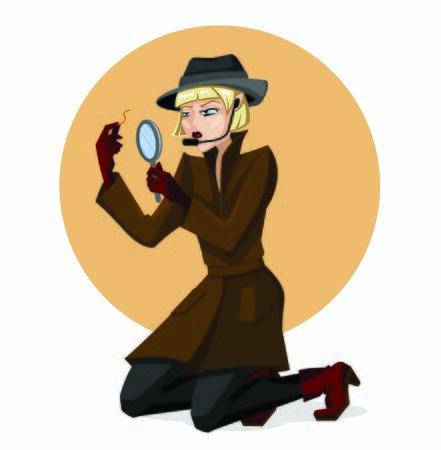 Vektor für Cartoon Color Character Person Detective Woman Concept. Vector - Lizenzfreies Bild