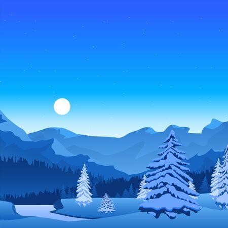 Illustration pour Cartoon Winter Landscape Banner Card Poster. Vector - image libre de droit