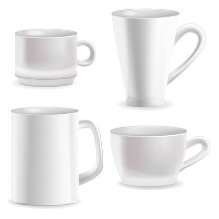 Illustration pour Realistic Detailed 3d Blank White Coffee Mugs Template Mockup Set. Vector - image libre de droit