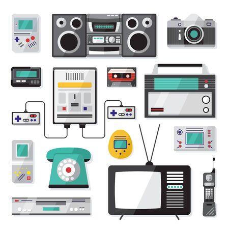 Ilustración de Cartoon Color Nineties Hipster Gadgets Icon Set Include of Phone, Cassette, Pager and Tv. Vector illustration of Icons - Imagen libre de derechos