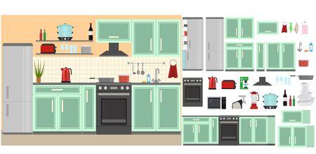 Illustration pour Cartoon Color Kitchen Room Interior Inside Concept Flat Design Style Include of Oven, Stove, Fridge and Kettle. Vector illustration - image libre de droit