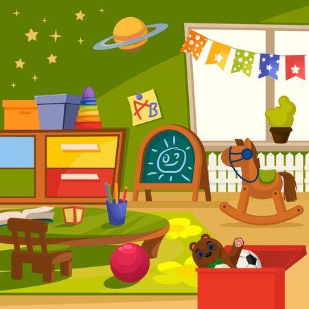 Illustration pour Cartoon Color Kindergarten Interior Inside Concept Flat Design Style Include of Toy, Table, Chair, Cube and Carpet . Vector illustration - image libre de droit