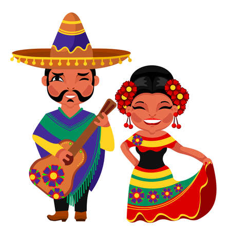 Illustration for Cartoon Color Characters People Mexican Concept. Vector - Royalty Free Image