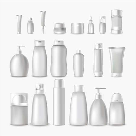 Illustration pour Realistic Detailed 3d White Blank Cosmetic Bottle Empty Template Mockup Set for Cream, Shampoo and Lotion. Vector illustration - image libre de droit