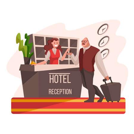 Illustration pour Cartoon Color Characters People Hotel Reception with Female Manager Tourism Concept Flat Design Style. Vector illustration - image libre de droit