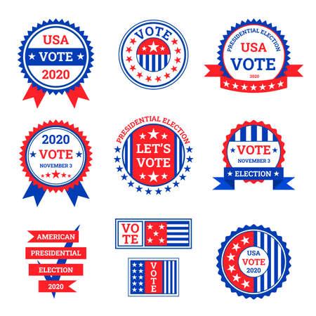 Illustration pour Cartoon Color Election Label Badge Sign Set Concept Flat Design Style. Vector - image libre de droit