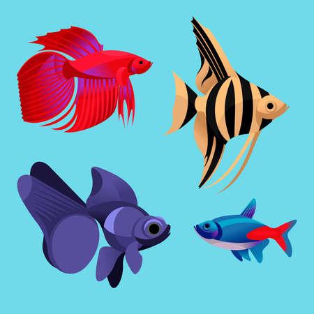 Photo pour Cartoon Color Aquarium Fish Icon Set. Vector - image libre de droit