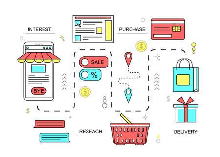 Illustration pour Customers Journey Marketing Concept Contour Linear Style. Vector - image libre de droit