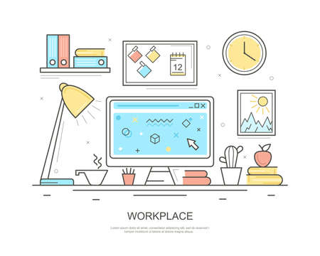 Illustration for Workplace Computer Concept Contour Linear Style. Vector - Royalty Free Image