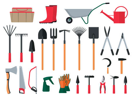 Illustration for Cartoon Color Various Gardening Items Icon Set. Vector - Royalty Free Image