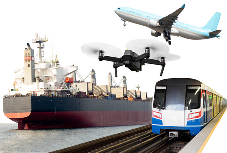 Photo for Global transportation conceptual commercial trains, Aircraft, crane ship. - Royalty Free Image