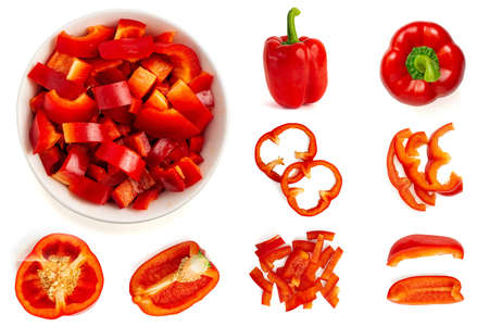 Foto für Set of fresh whole and sliced bell pepper isolated on white background. Top view. - Lizenzfreies Bild