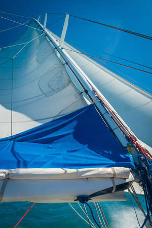 Sail of a large monohull boat under strong wind