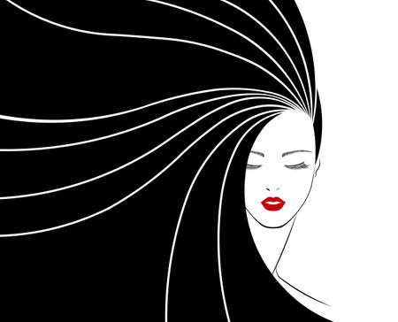 Illustration pour long hair style icon - image libre de droit