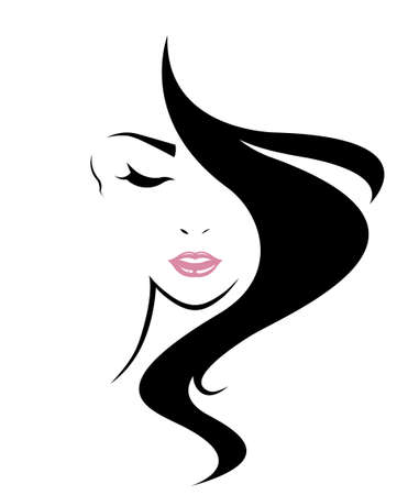 Photo for long hair style icon, women face on white background - Royalty Free Image