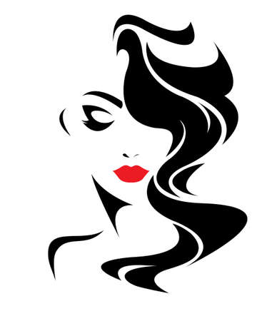 Illustration pour women long hair style icon, women face on white background - image libre de droit
