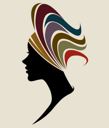 Illustration for illustration vector of African women silhouette fashion models, beautiful black women - Royalty Free Image