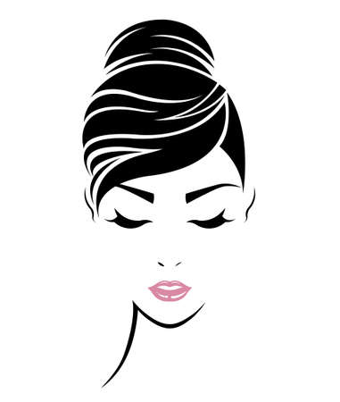 Illustration for illustration of women hair style icon, logo women face on white background, vector - Royalty Free Image