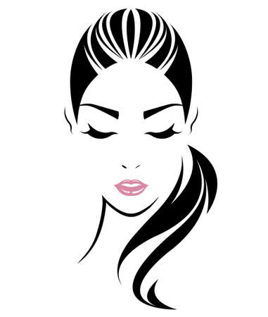 Photo pour women long hair style icon, logo women face on white background, vector - image libre de droit