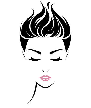 Vektor für illustration of women short hair style icon, logo women face on white background, vector - Lizenzfreies Bild