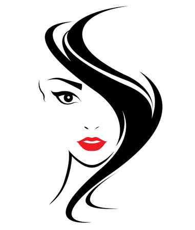 Illustration for women long hair style icon, logo women face on white background, vector - Royalty Free Image