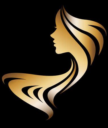 Photo pour illustration vector of women silhouette golden icon, women face logo on black background - image libre de droit