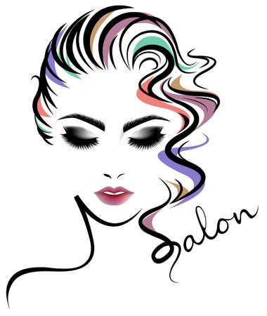 Illustration for illustration of women short hair style icon, logo women face on white background, vector - Royalty Free Image