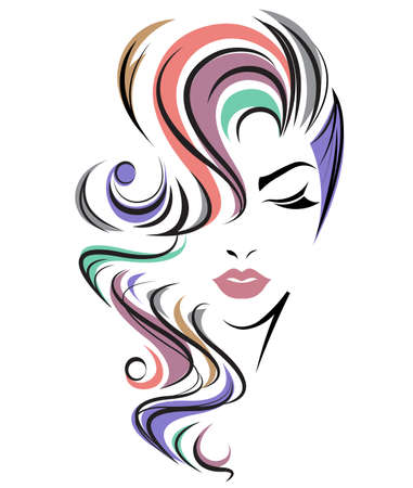 Ilustración de illustration of women long hair style icon, logo women face on white background, vector - Imagen libre de derechos