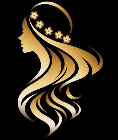 Illustration for illustration vector of women silhouette golden icon, women face logo on black background - Royalty Free Image