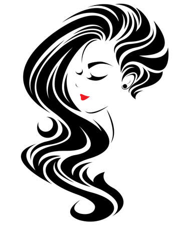 Illustration for illustration of women long hair style icon, logo women face on white background, vector - Royalty Free Image