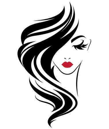 Ilustración de Illustration of women long hair style icon, logo women on white background, vector - Imagen libre de derechos