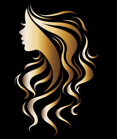 Illustration for Illustration vector of women silhouette golden icon, women face logo on black background - Royalty Free Image