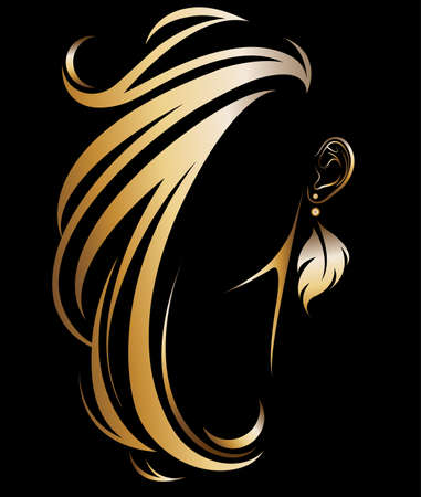 Illustration pour illustration vector of women silhouette golden icon, women hair and earring logo on black background - image libre de droit