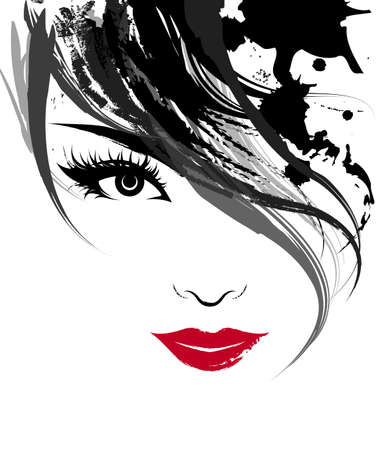 Foto de illustration of beautiful women, logo women face makeup on white background, vector - Imagen libre de derechos