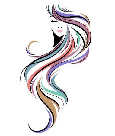 Illustration for women long hair style icon, logo women face on white background - Royalty Free Image