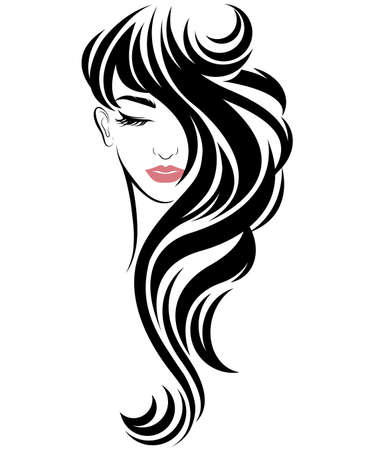 Illustration for illustration of women long hair style icon, logo women on white background, vector - Royalty Free Image