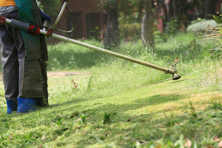 lawn mower worker cutting grass in green field.