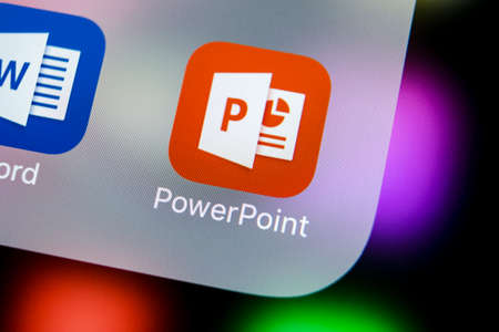 Photo for Sankt-Petersburg, Russia, March 21, 2018: Microsoft office Powerpoint application icon on Apple iPhone X screen close-up. PowerPoint app icon. Microsoft Power Point application. Social media network - Royalty Free Image