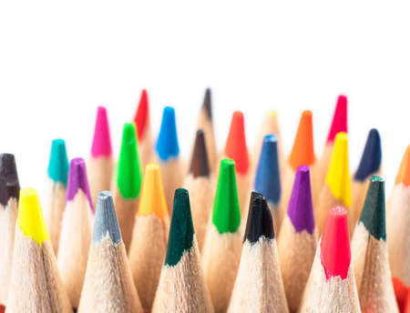 Foto de Macro shot colored pencils pattern isolated on white background. Set of multicolored pencils background texture. Color pencils set - Imagen libre de derechos