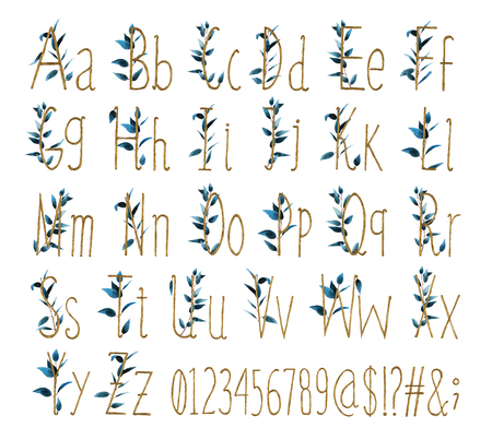 Foto de Font of all alphabet with numbers and signs is made of watercolor leaves and Golden letters with precious paper cut out letter shape. A collection of brilliant flora font. - Imagen libre de derechos