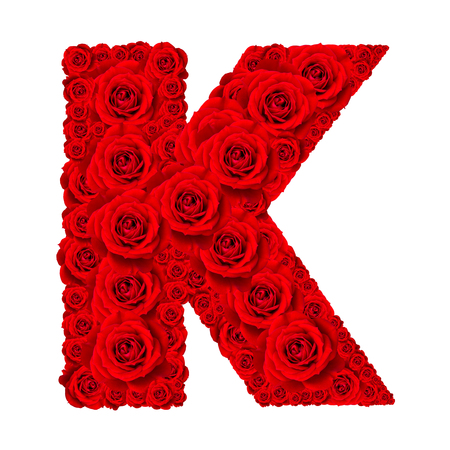 Rose alphabet set - Alphabet capital letter K made from red rose blossoms isolated on white background