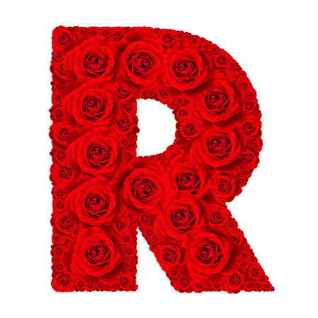 Rose alphabet set - Alphabet capital letter R made from red rose blossoms isolated on white background