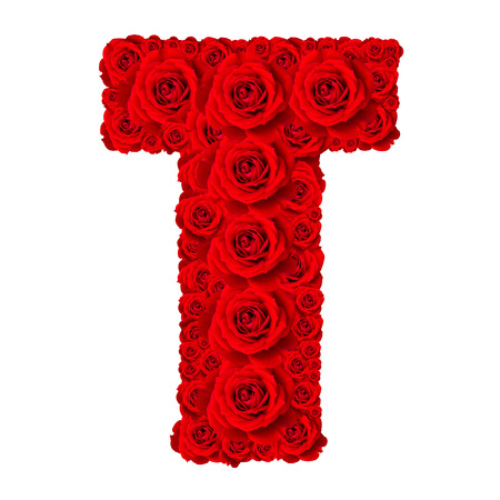 Rose alphabet set - Alphabet capital letter T made from red rose blossoms isolated on white background