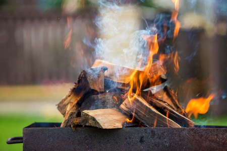 Brightly burning in metal box logs firewood for barbecue outdoor on sunny day. Orange high flame and white smoke on blurred blue sky and green grass background. Camping, safety and tourism concept.