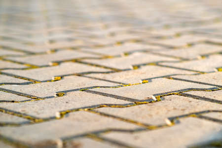 Photo for Closeup detail of gray concrete yard pavement slabs. - Royalty Free Image